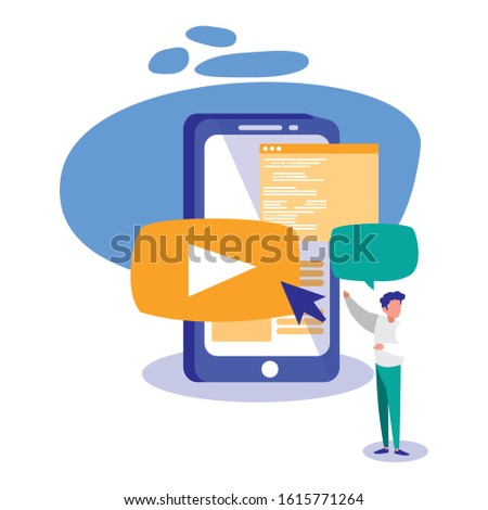 Smartphone and man design, Digital technology communication social media internet web and cellular theme Vector illustration