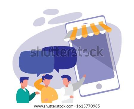 Smartphone and men design, Digital technology communication social media internet web and cellular theme Vector illustration