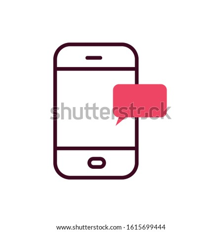 Smartphone and red bubble design, Cellphone mobile digital phone technology communication and social media theme Vector illustration