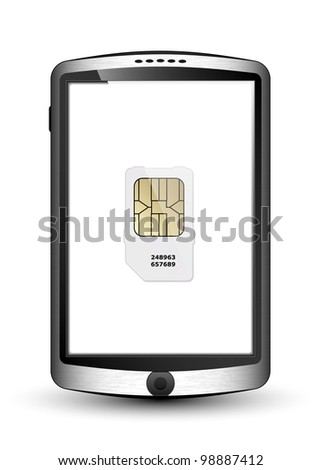 Smartphone and sim card. Vector Illustration