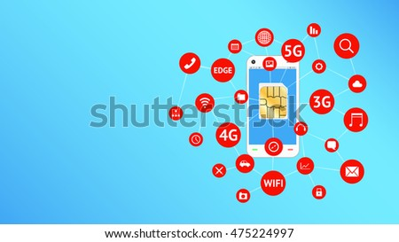smartphone and sim card with