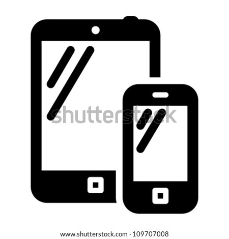 Smartphone and tablet PC black vector icon