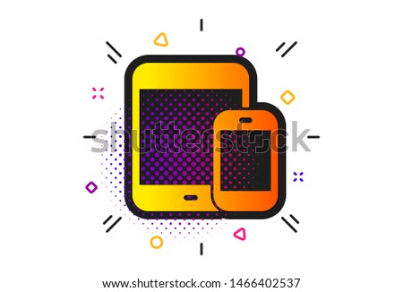 Smartphone and Tablet PC signs. Halftone circles pattern. Mobile Devices icon. Touchscreen gadget symbols. Classic flat mobile devices icon. Vector