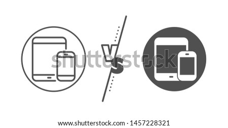 Smartphone and Tablet PC signs. Versus concept. Mobile Devices icon. Touchscreen gadget symbols. Line vs classic mobile devices icon. Vector