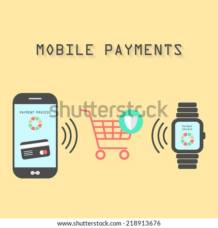 smartphone and watches with processing of protected mobile payments from credit card nfc technology communication concept isolated on yellow background flat design style modern vector illustration