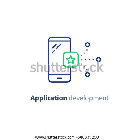 Smartphone app development, mobile communication technology, phone vector line icon, application solution