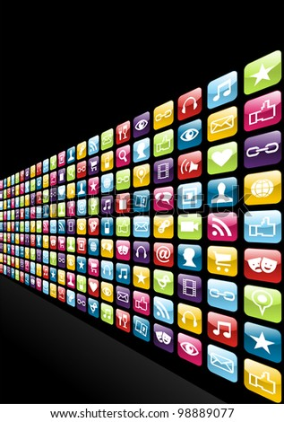 Smartphone app icon set pattern background. Vector file layered for easy manipulation and customisation.
