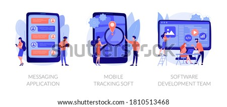 Smartphone application abstract concept vector illustration set. Messaging application, mobile tracking soft, software development team, chat app, gps tracking, outsource company abstract metaphor.