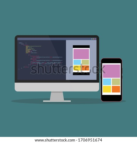 smartphone application development process flat vector illustration. Software API prototyping and testing background. Smartphone interface building process, unique flat icon for mobile app development