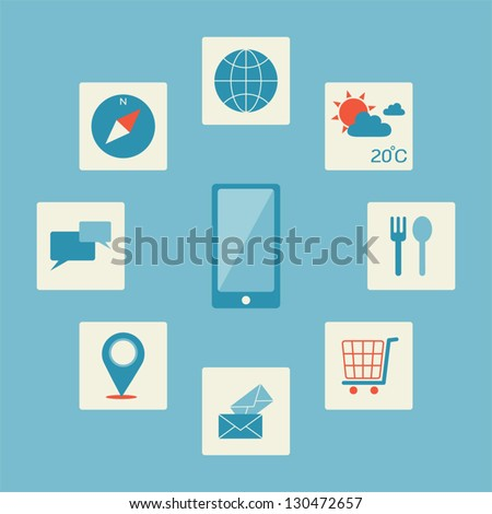 Smartphone application icon, vector