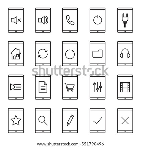 Smartphone apps linear icons set. Home page, playlist, listen to music, new document, folder, shopping, search, rate, mute on and off buttons. Thin line contour symbols. Isolated vector illustrations