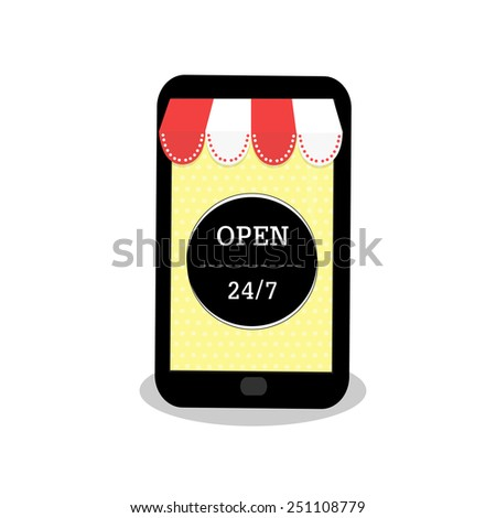 smartphone as a shop with text
