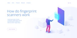 Smartphone biometric access control in isometric vector illustration. Fingerprint screening security system concept. Digital touch scan identification or sensor authentication. Web banner layout.