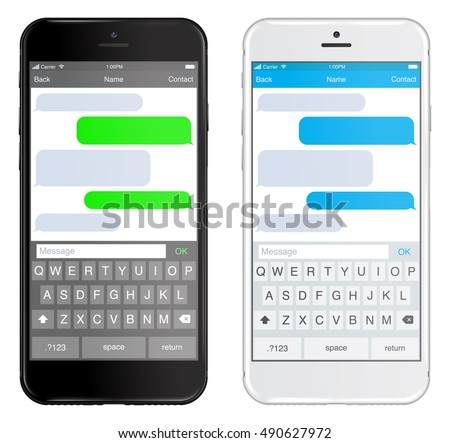Shutterstock Smartphone black and white, chatting sms app template bubbles, black and white theme. Place your own text to the message clouds. Compose dialogues using samples bubbles! Eps 10 format
