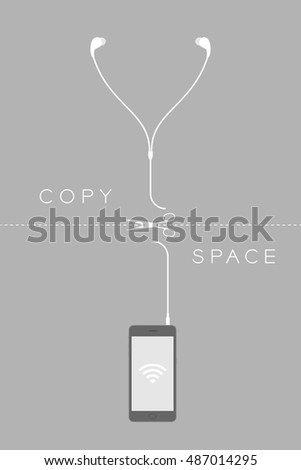 Smartphone black color flat design and earphones cable cut by scissors illustration isolated on grey background, wireless concept idea with copy space