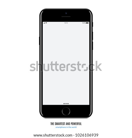 smartphone black color with blank touch screen saver isolated on white background. realistic and detailed mobile phone mockup. stock vector illustration