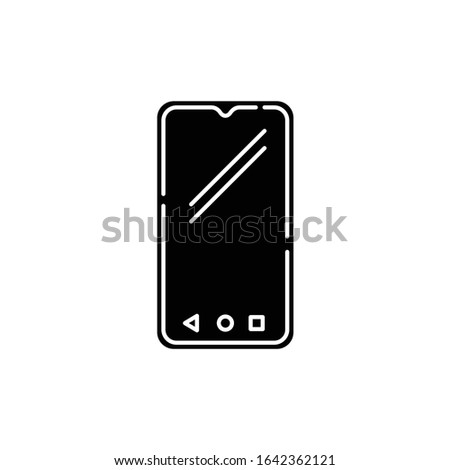 Smartphone black glyph icon. Mobile, cell phone. Pocket personal computer. Cellular telephone. Touchscreen. Touch display. . Technology. Silhouette symbol on white space. Vector isolated illustration