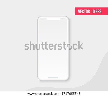 Smartphone blank screen, realistic white phone mockup. Template for infographics or presentation UI design interface ストックフォト ©