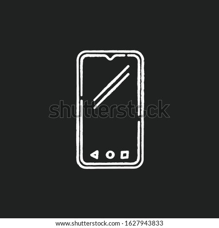 Smartphone chalk white icon on black background. Mobile, cell phone. Pocket personal computer. Cellular telephone. Touchscreen. Touch display. Handheld device. Isolated vector chalkboard illustration