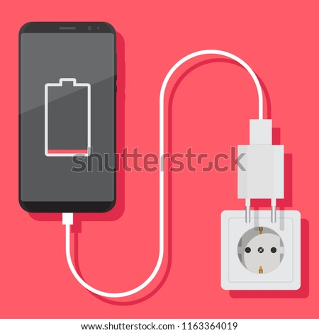 Smartphone charger adapter and electric socket, low battery notification, flat design illustration