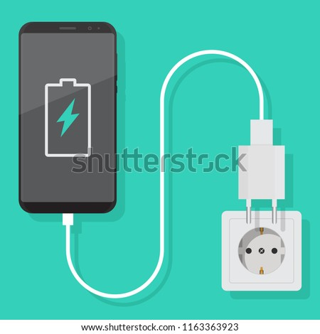 Smartphone charger adapter and electric socket, notification of the battery being charged, flat design illustration Stockfoto ©