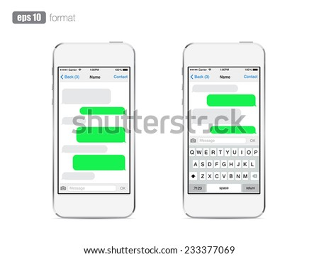 Smartphone chatting sms template bubbles. Place your own text to the message clouds. Compose dialogues using samples bubbles! Eps 10 format