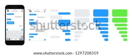 SmartPhone chatting sms template bubbles. SMS chat composer. Place your own text to the message. Phone chatting sms template bubbles. Vector illustration