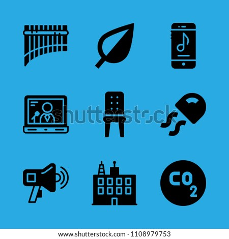 smartphone, co, leaf, megaphone, building, chair, jellyfish, panpipe and laptop vector icon. Simple icons set