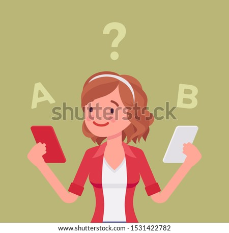 Smartphone comparison for a girl. Young lady choosing between two smart phones, rankings product features, looking for differences, design view, brand and price. Vector flat style cartoon illustration ストックフォト ©
