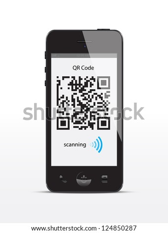 Smartphone concept with a qr code scanning.