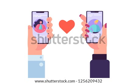 Smartphone Dating Application to Find Love. Hands Holding Mobile with Man and Woman Profile Romance App. Social Relationship Communication. Flat Cartoon Vector Illustration