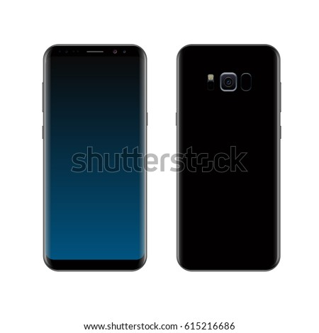 Smartphone design concept. Realistic vector illustration. Black smart phone front and back view isolated on white background.
