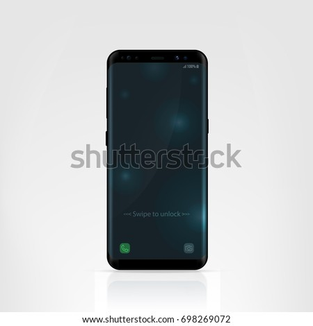 Smartphone design concept. Realistic vector illustration. Black smart phone isolated on white background.