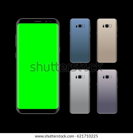 Smartphone design concept with different colors. Realistic vector illustration. Smart phone front and back view isolated on black background.
