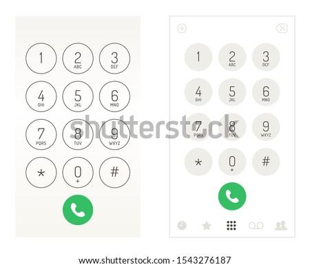 Smartphone dial keypad design. Mobile phone numbers panel, cellphones digital dialing communication screen, vector illustration Сток-фото ©