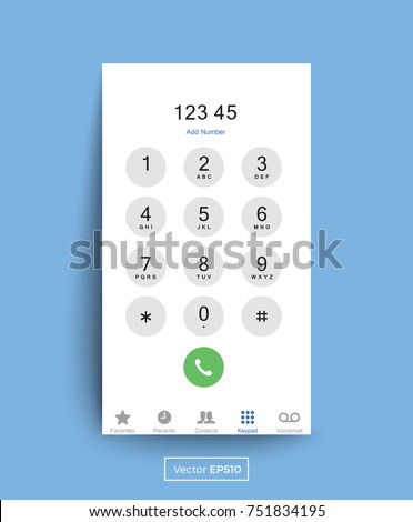Smartphone Dial Keypad Screen Vector Illustration.