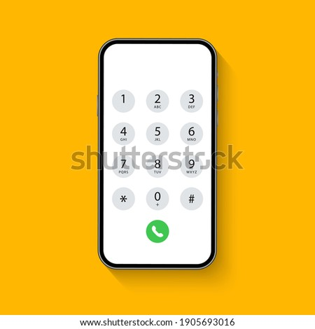 Smartphone dial keypad with numbers and letters. Interface keypad for touchscreen device. Dialing numbers phone on screen. Mobile phone keypad design. Vector Illustration.
