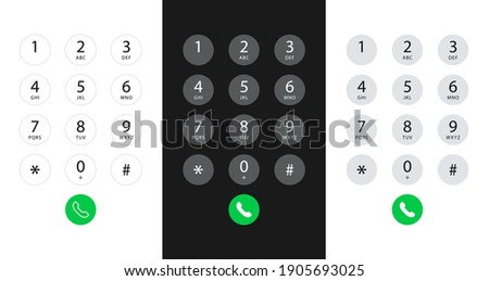 Smartphone dial keypad with numbers and letters. Interface keypad for touchscreen device. Dialing numbers phone on screen. Mobile phone keypad design. Vector Illustration. Сток-фото ©