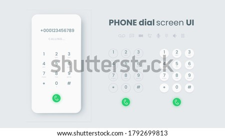Smartphone dial. Realistic phone number pad, call screen UI with keypad and dial buttons. Vector isolated illustration touchscreen telephone interface