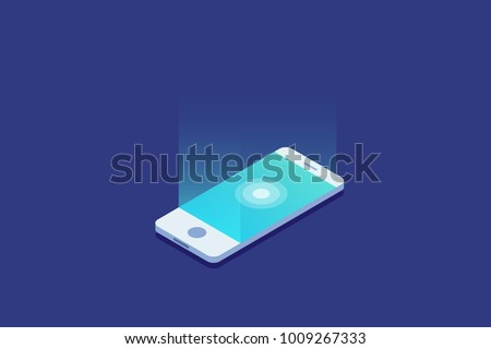 Smartphone. Digital gadget. Touchscreen mobile phone glows. 3d isometric flat design. Vector illustration.