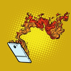 smartphone flames. destruction of technology. Comic cartoon pop art retro vector illustration drawing