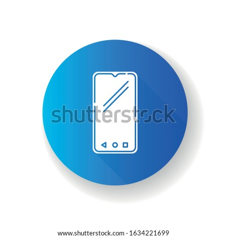 Smartphone flat design long shadow glyph icon. Mobile, cell phone. Pocket personal computer. Cellular telephone. Touchscreen. Touch display. Handheld portable device. Silhouette RGB color illustration