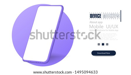 Smartphone frame less blank screen. Mockup generic device. Vector realistic violet smartphone template. Telephone frame with blank display isolated