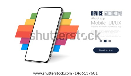 Smartphone frame less blank screen, rotated position. 3d isometric cell phone. Smartphone perspective view. Template for infographics or presentation UI design interface. Trends color, Colorful.Vector