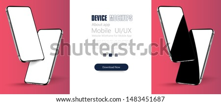 Smartphone frame less blank screen, rotated position. 3d isometric illustration cell phone. Smartphone perspective view. Template for advertising or page to the site, marketing, presentation. Vector