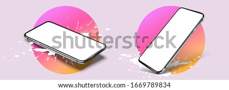 Smartphone frame less blank screen, rotated position. 3d isometric illustration cell phone. Smartphone perspective view. A modern template with a mobile phone and trending blotches, splashes. Mockup