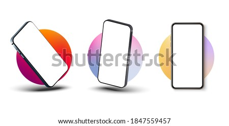 Smartphone frame less blank screen, rotated position. Smartphone from different angles. Mockup generic device. UI/UX smartphones set. Template for infographics or presentation 3D realistic phones.