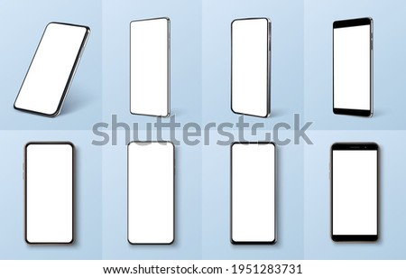 Smartphone frame less blank screen, rotated position. Smartphone from different angles. Mockup generic device. UI,UX smartphones set. Template for infographics or presentation 3D realistic phones.