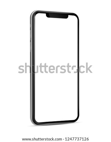Smartphone frame less blank screen - rotated position -  vector eps 10 illustration