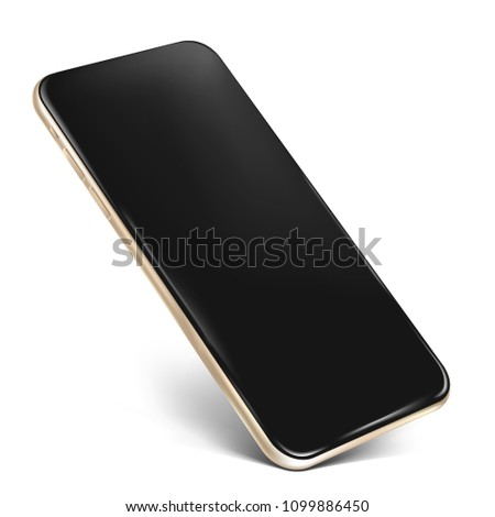 Smartphone frame less blank screen with notch - standing on corner, isolated on white background, transparent glass layer with reflections on the top - high detailed eps 10 vector illustration